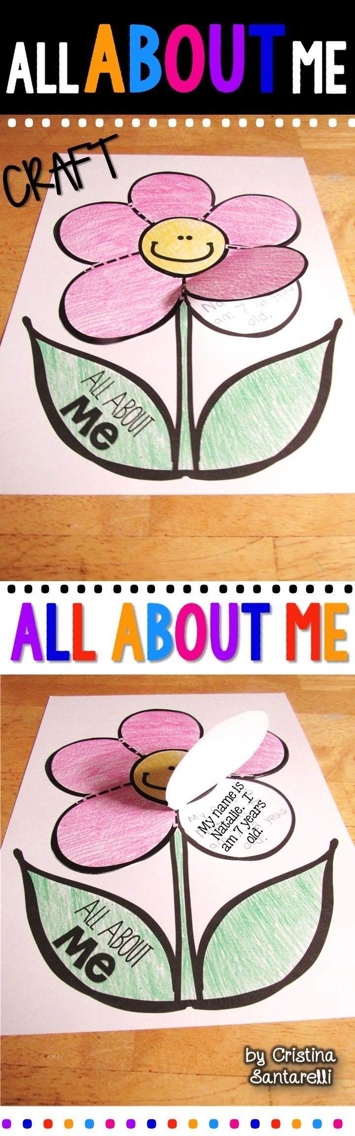 Freebie! All About Me Craft!  In this All about me craft, your little ones can write or draw facts about themselves underneath each flower petal flap.