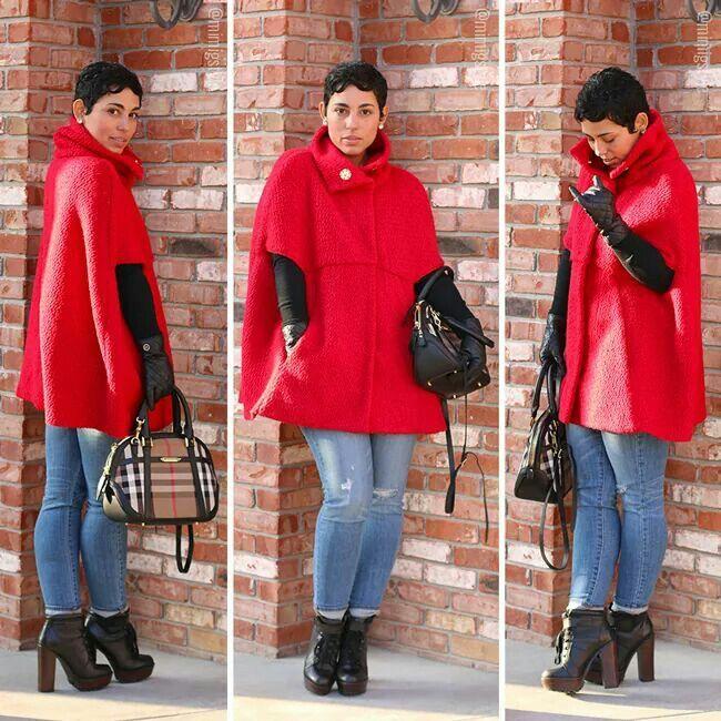 MimiG - red cape coat