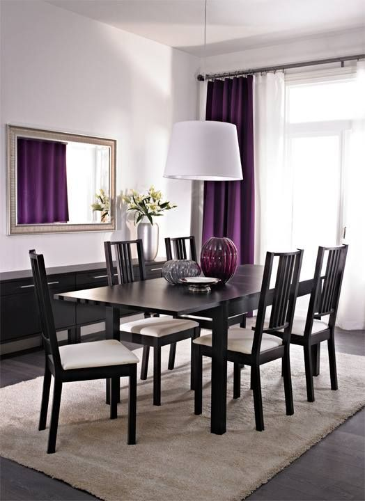 Purple curtains, dining area, mirror. I love it all.