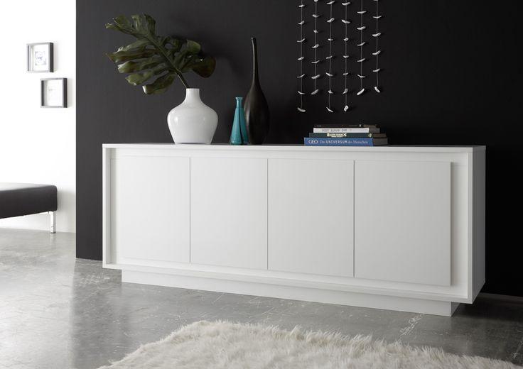 luna four door sideboard matt white
