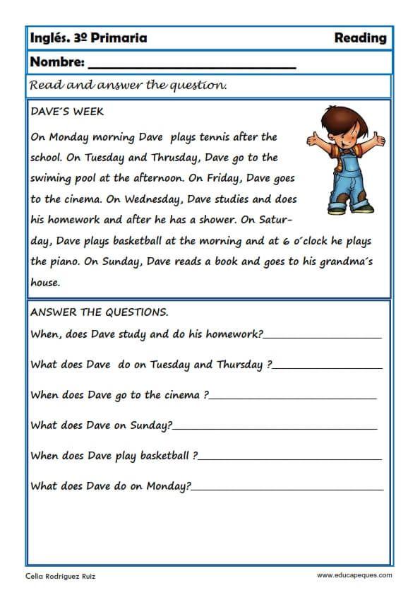 Reading And Writting Fichas De Inglés Para Tercero Primaria Fichas Ingles Lecciones De Lectura Lectura De Comprensión