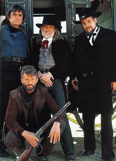 """The Highwaymen"" - Johnny Cash Waylon Jennings Willie Nelson and Kris Kristofferson 1985"