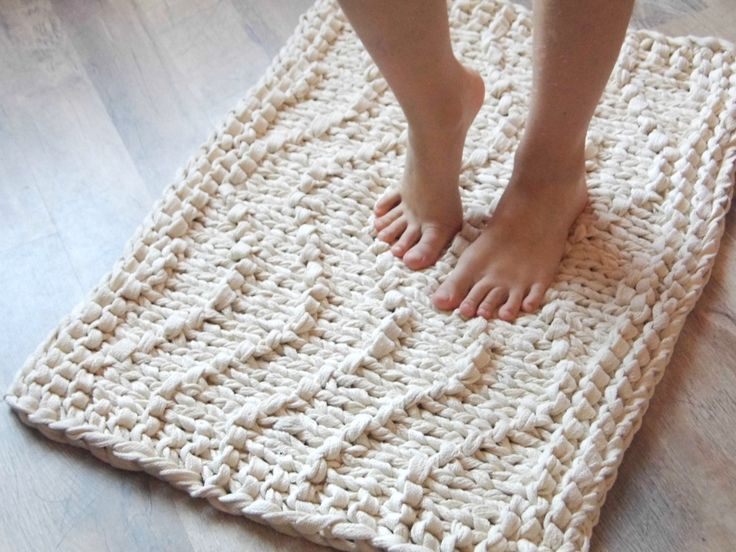 Wave Chunky Soft Natural Cotton Hand Knit Rope Rug