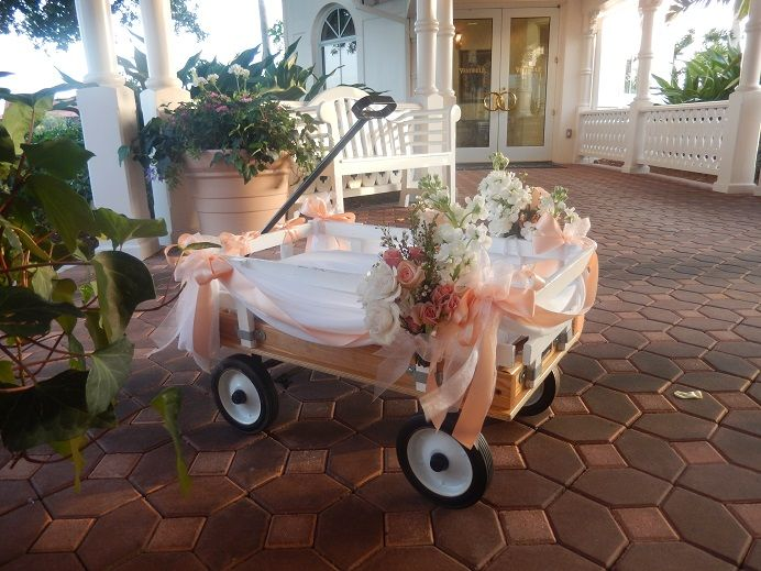 Very young ring bearers and/or flower girls enter the wedding in a wagon.                                                                                                                                                     More