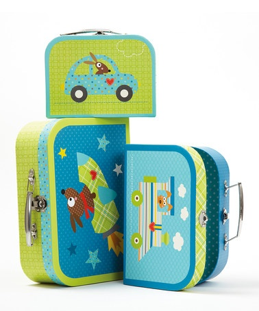 Take a look at this Set of Three Vehicles Suitcase Boxes by Cupcakes & Cartwheels on #zulily today!