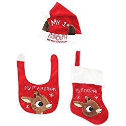 Babys First Christmas Stocking Holiday Bib Hat and Stocking Set Faux Fur