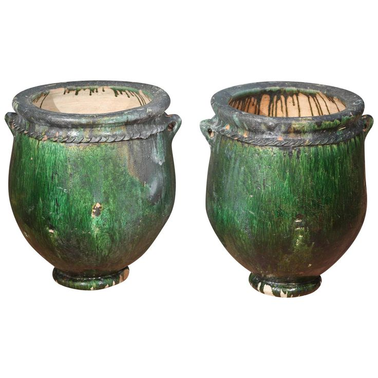 Large oversized green Moroccan Garden Planters | From a unique collection of antique and modern garden ornaments at https://www.1stdibs.com/furniture/building-garden/garden-ornaments/
