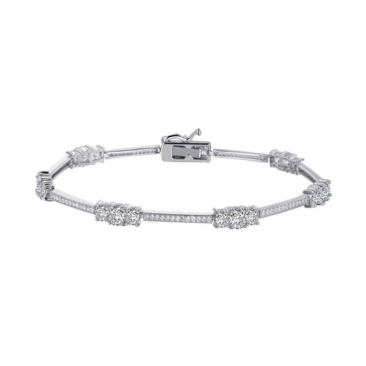 Lafonn 3-Stone Plus Style Simulated Diamond Tennis Bracelet. This classic tennis bracelet is platinum bonded sterling silver and has 5cttw of round Lassaire simulated diamonds in a repeating 3-stone d
