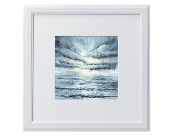 Ocean wave sun and clouds  Print  Watercolor by songhillpics