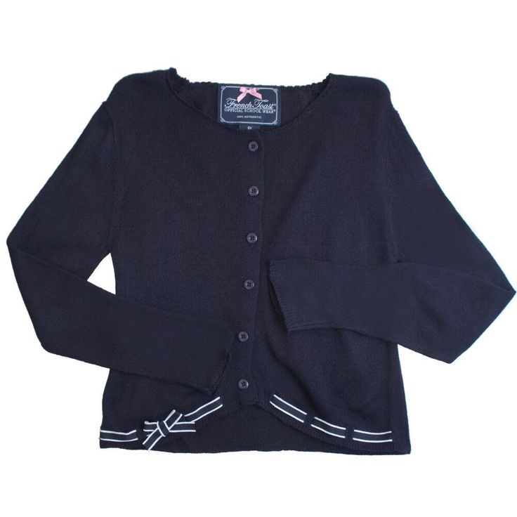 French Toast Sweater With Ribbon Trim Girls Navy 2T