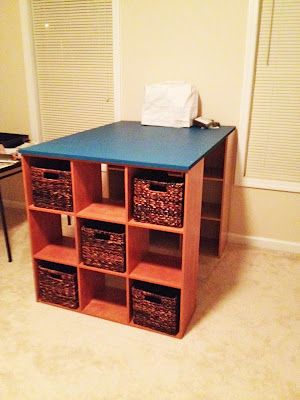 wanna do this: add backs to the shelves, and back to the entire desk with a magnet board for B; could also attach a small desk area for her, too!