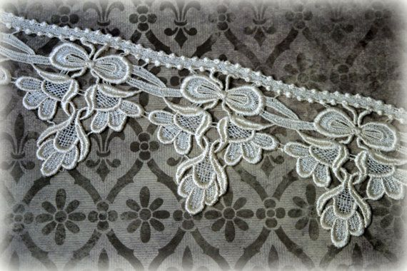 Lace Fabric Trim Ivory Lace Fabric Guipure Lace by TresorsdeLuxe, $4.49