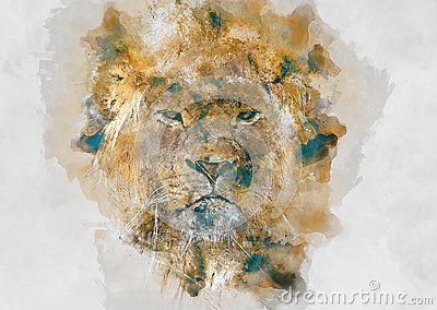 Lion watercolor art for your design.