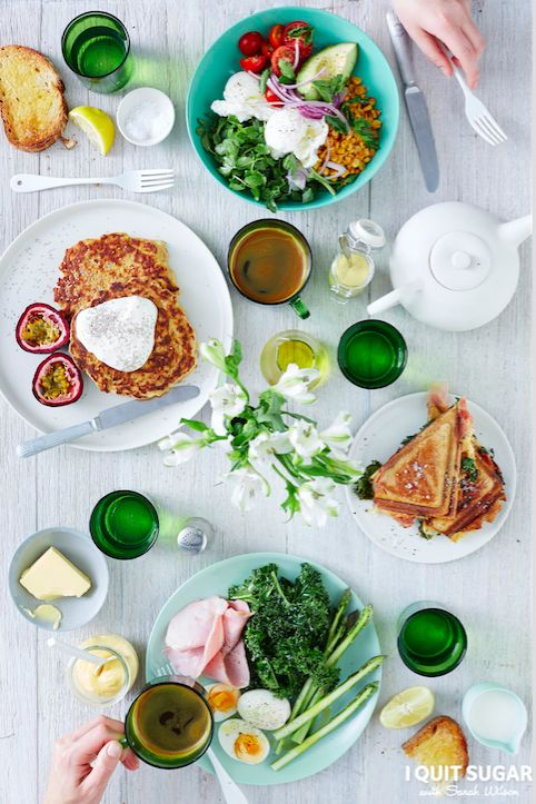 Sweet Potato Ricotta Hotcakes and Kale Croque Monsieur featured in our new 'I Quit Sugar Healthy Breakfast Cookbook'.