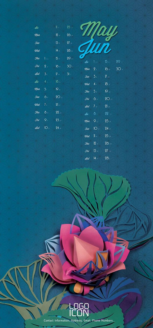 My first calendar project by paper illustrationabout the Lotus flower in Viet Nam