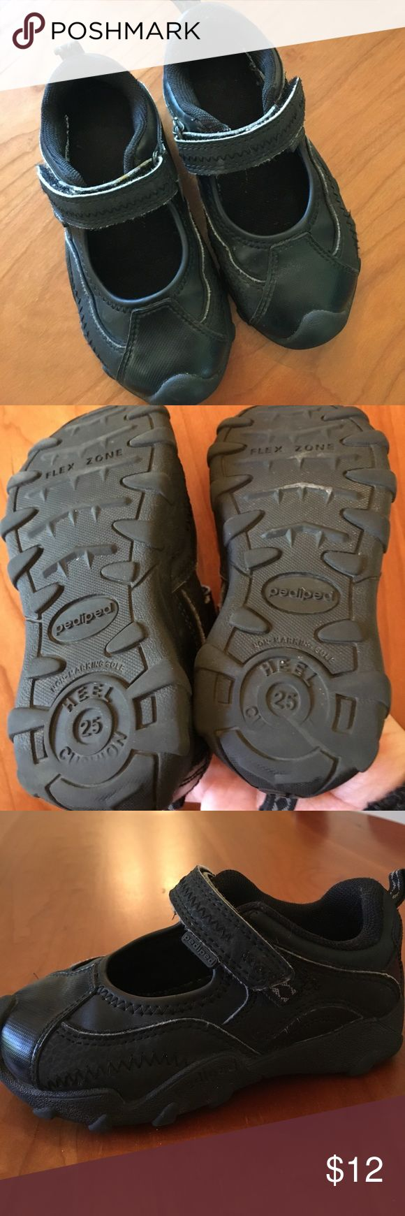 Pediped toddler Mary Jane size 25/8.5 European size 25 Mary Jane sneaker shoes in all black. Flexible sole. Good condition. pediped Shoes