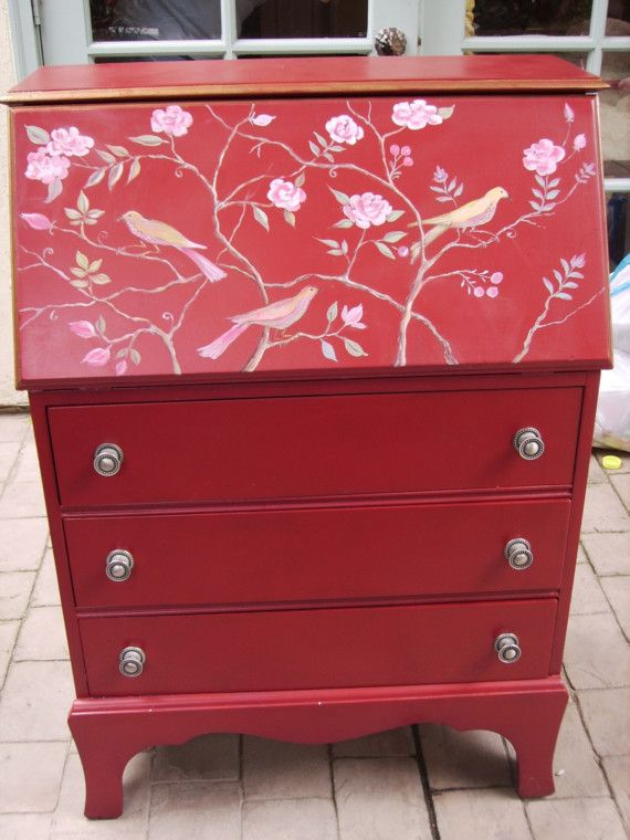 Red Hand painted pull open desk by sandy562 on Etsy, $500.00