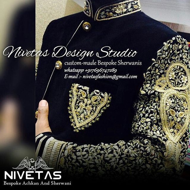 custom made mens' sherwani queries  :  nivetasfashion@gmail.com we are india based company - providing international delivery. you can get made your desired style and work  we are specialize in custom made bespoke outfits..   groom sherwani, bridal lehengas, groom shoes embroidered shoes -  Rest assured about the quality and work, you ll get the high and quality and work for you outfit  .   Please write us a email at nivetasfashion@gmail.com for queries