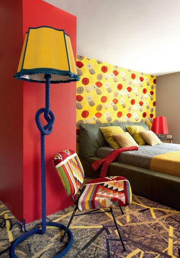 Very colourful bedroom