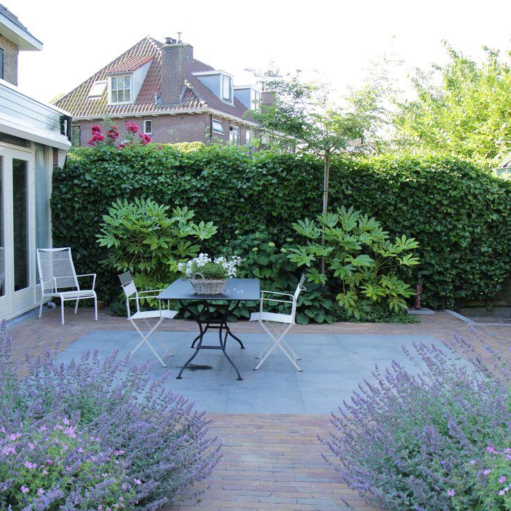 Romantische stadstuin | De tuin is bestraat met klassieke gebakken klinkers. In het terras ligt een 'vloerkleed' van grote donkergrijze graniet-tegels.