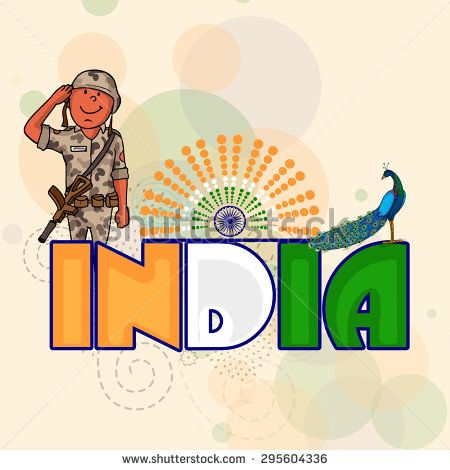 National tricolor text India with peacock and young saluting soldier on Ashoka Wheel decorated background for Indian Independence Day celebration.