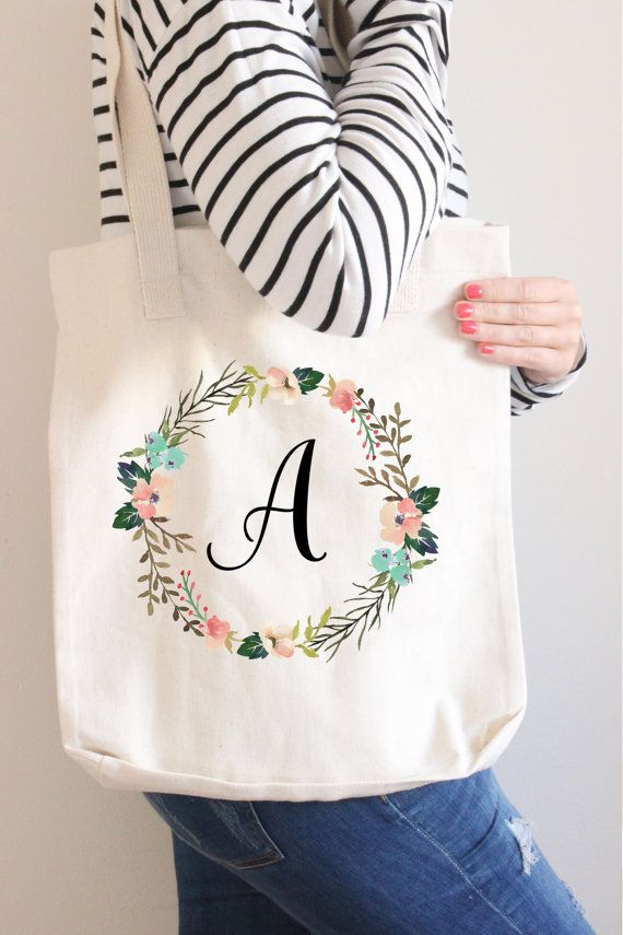 Bridesmaid Tote Bag Bridesmaid Gift Monogram Tote by instanttrends