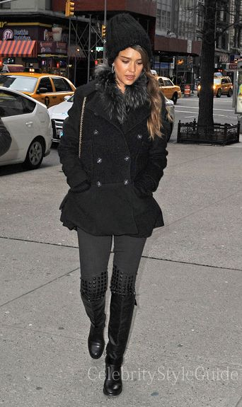 Seen on Celebrity Style Guide: 'Fantastic Four' star Jessica Alba steps out in these grey studded knee skinny jeans and peacoat out in New York City Get Them Here: http://rstyle.me/~1kZ94
