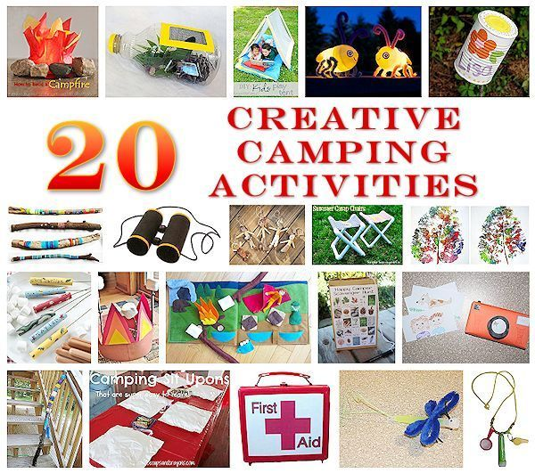 20 Creative Camping Activities - Check out this list of fun projects you can take with you on a camping trip or use to get ready for one. (http://aboutfamilycrafts.com/20-creative-camping-activities/)