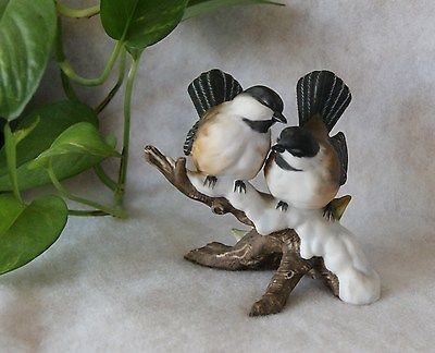 Vintage Masterpiece Porcelain Homco Home Interiors Chickadees Bird Figurine 1991