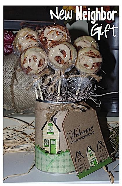 Cinnamon rolls on stick - welcome to the neighborhood gift