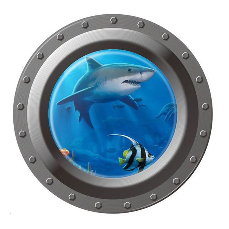 Cheap sticker bathroom, Buy Quality decorative car stickers directly from China sticker parts Suppliers:           FW1S Shark Ocean View Wall Sticker 3D Porthole Window Kids Room Home Decor Art