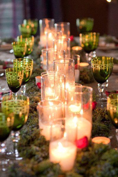 "Stunning candles in ""moss garden."" Mark Davidson Photography"