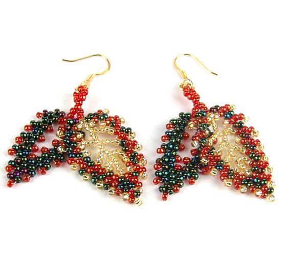 Free pattern for earrings Autumn Leaves