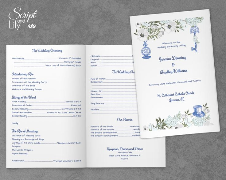 "Wedding Program Template | Folded / Double-Sided | Alice in Wonderland, Periwinkle Blue  | DOWNLOAD | EDITABLE Text | Word Doc | 5.5"" x 8.5"" by ScriptAndLily on Etsy"