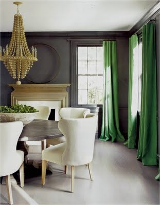 Dark walls - Always been a favorite. Green curtains with all natural colors - just stunning!