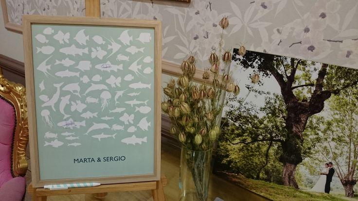 Libro de firmas de boda inspiración navy. Restaurante El Pinal. Asturias. https://www.facebook.com/BySandraCupcakes