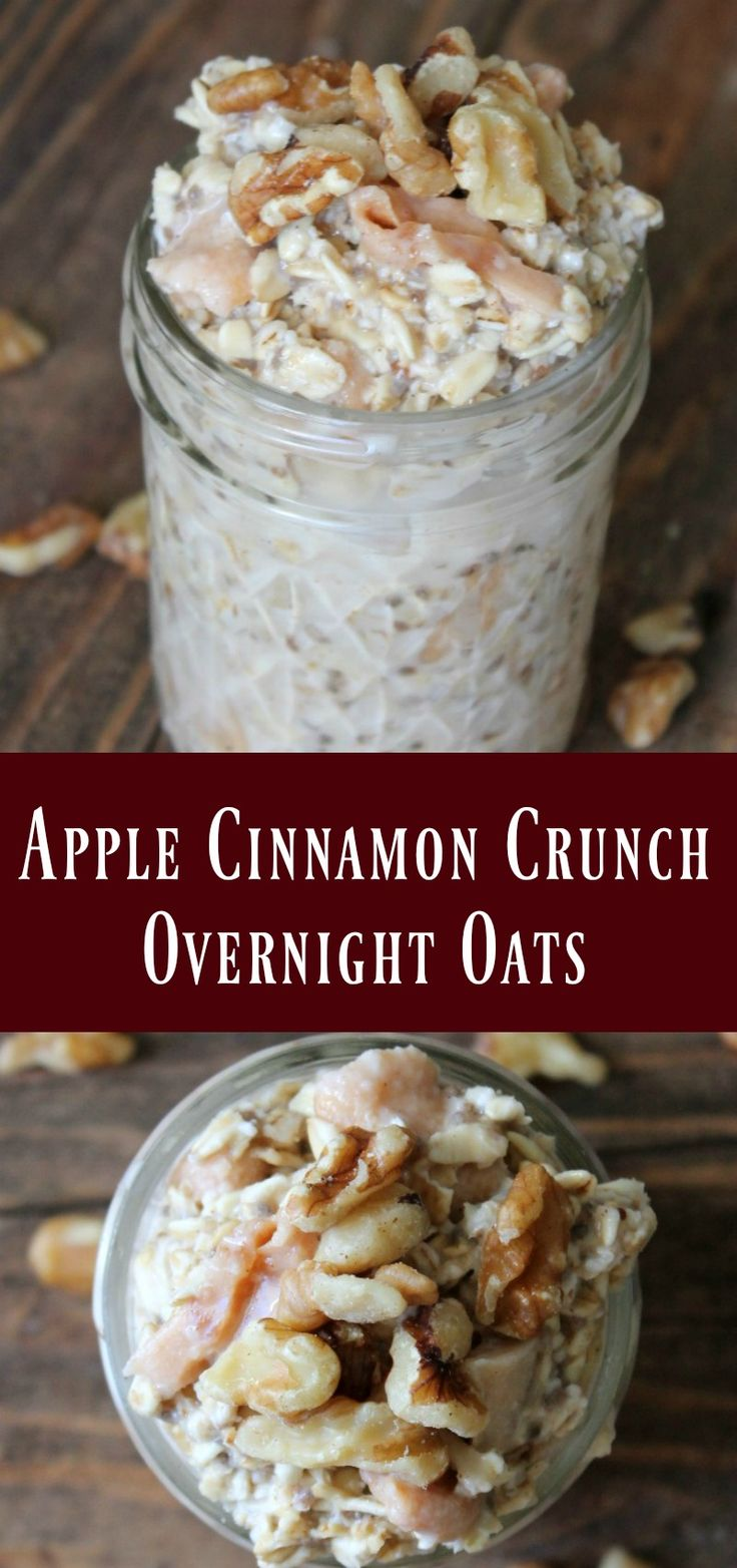 Apple Cinnamon Crunch Overnight Oats Recipe. Healthy make ahead breakfast idea to prepare on meal prep day for a delicious breakfast all week.