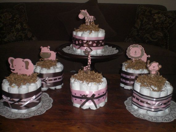 Girl Safari Jungle and Monkey Diaper Cakes Baby Shower Centerpieces other colors and sizes too. $10.50, via Etsy.