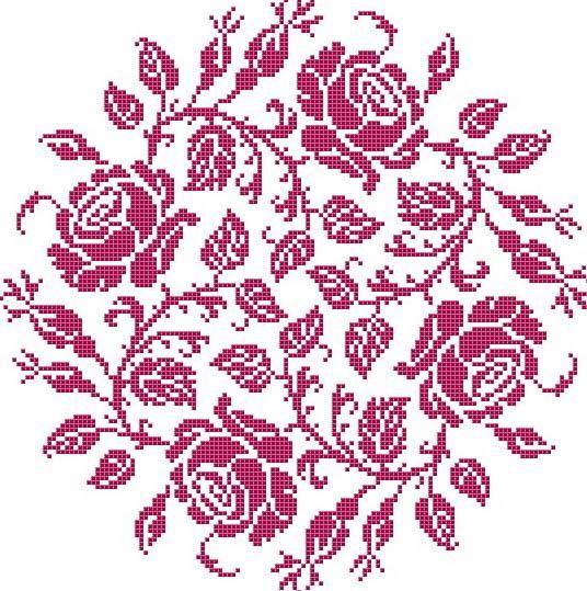 Garland Of Roses Cross Stitch Pattern