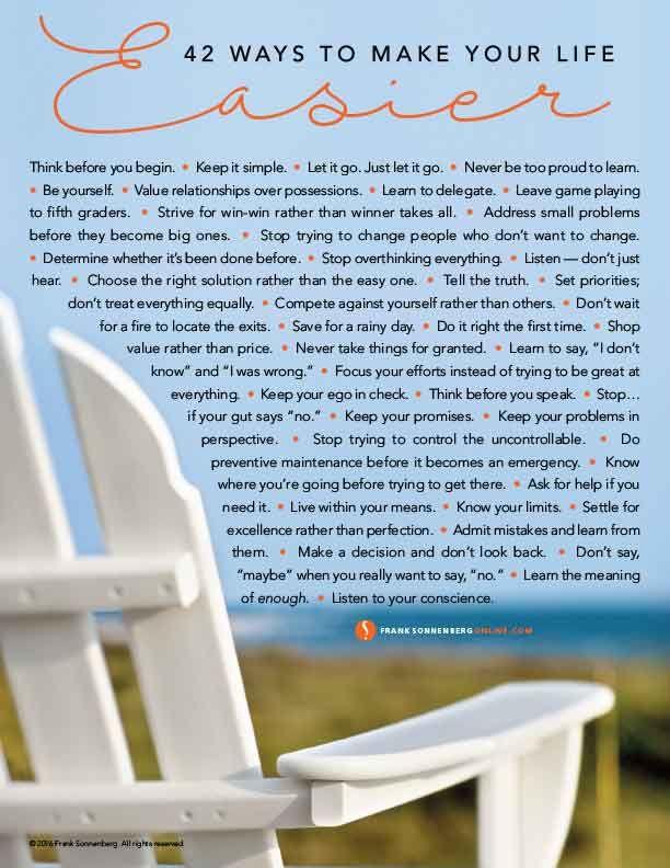 42 Ways to Make Your Life Easier I Live & Learn I www.FrankSonnenbergOnline.com