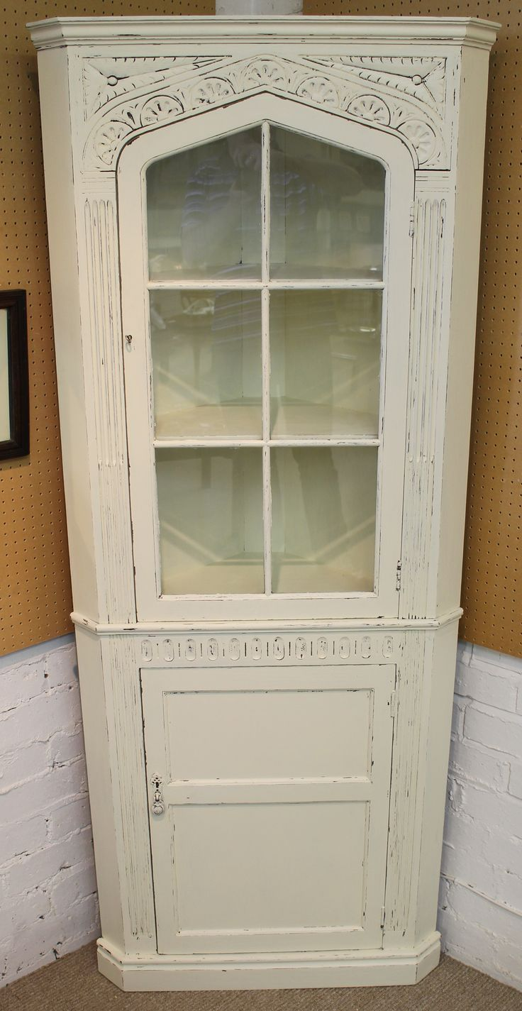 Painted Carved Oak Corner Cupboard measuring 69 inches in height x 28 inches in width. Also available via our ebay store at http://stores.shop.ebay.co.uk/retriques.