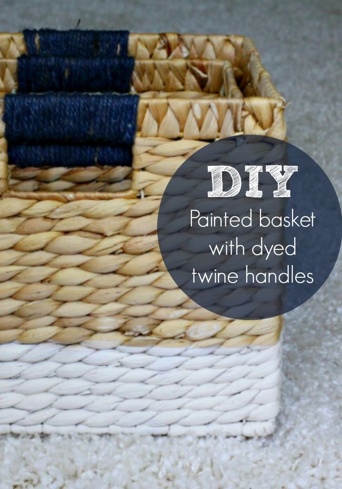 Pretty Painted Baskets DIY With Dyed Twine Handles