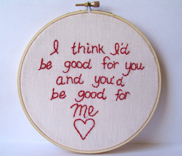 "Weezer Lyrics Hoop Art. ""I think I'd be good for you and you'r be good for me"" I love this song! Reminds me of @Craig Howe."