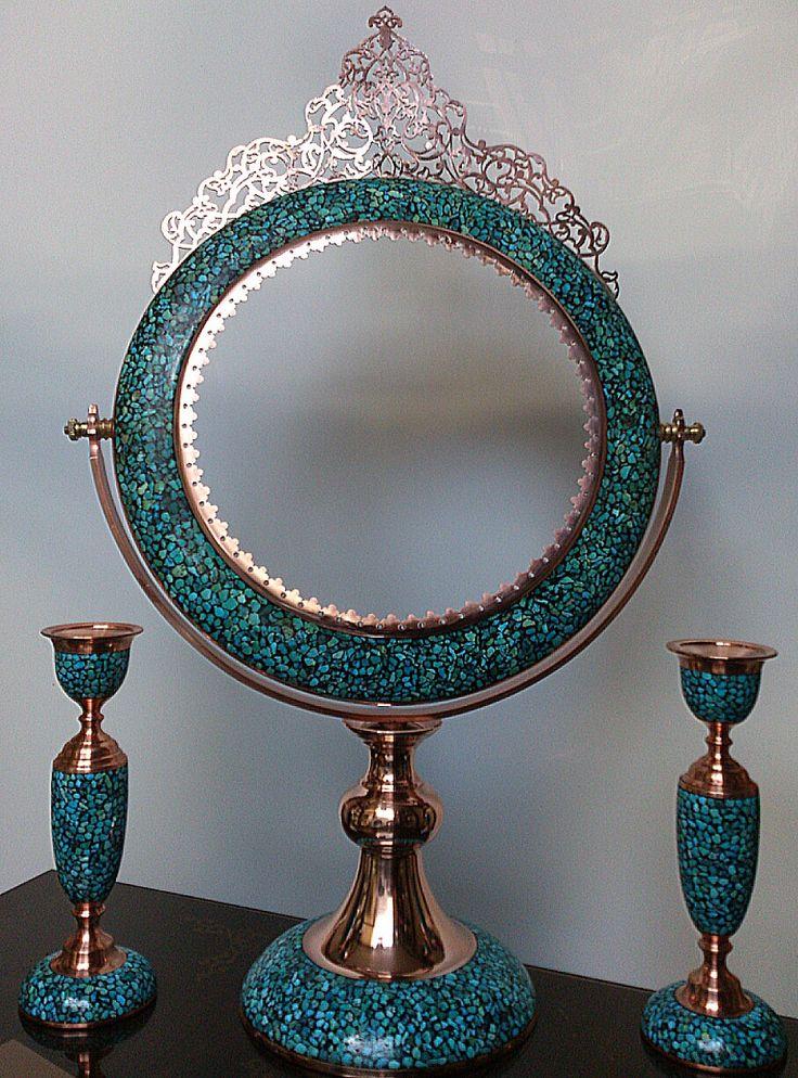 iran, isfahan inlaid turquoise (Firoozeh Kobe) handicraft products