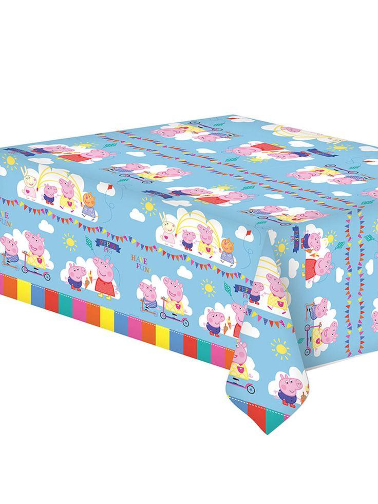 Peppa Pig™ plastic tafelkleed: Dit tafelkleed van Peppa Pig™ meet 120 x 180 cm en toont Peppa Pig™ en haar vriendjes op een blauwe achtergrond. Het tafelkleed is gemaakt van dun plastic.Dit feestelijke Peppa Pig™...