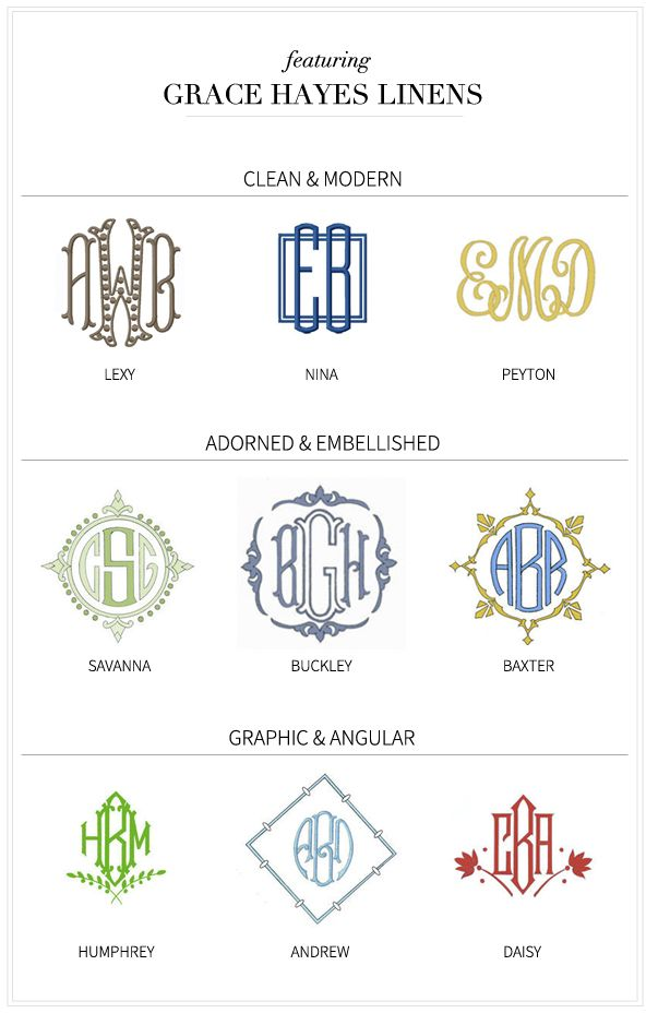 Several fine examples of monograms.