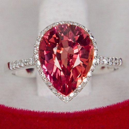 4.30CT Pear Cut Pink Padparadscha Sapphire Round Diamond Cut White Sapphire Promise Engagement Anniversary Ring Size 6.75 by JoyofLondon on Etsy