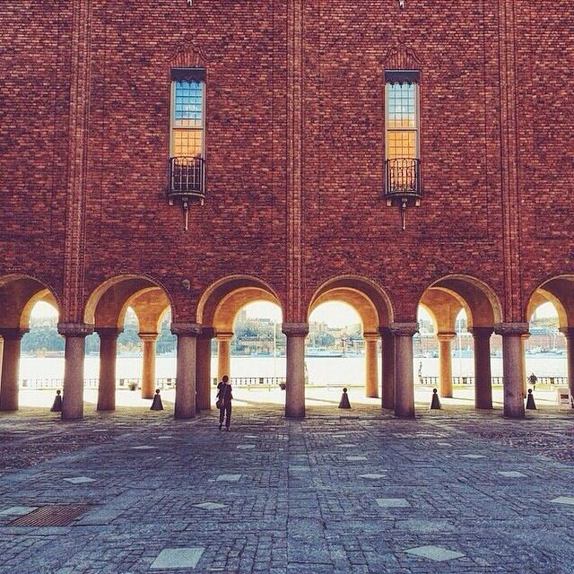 Stockholm City Hall, Sweden. A look inside the courtyard. Few steps away there is a nice garden which in summer gathers tourists wanting to take pictures with lake Mälaren and the Old Town in the background. A must-see!
