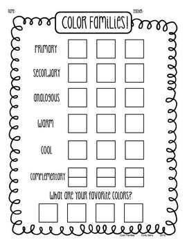 Color Family Portraits Art Worksheet Maybe do this as stations with an art print for each color scheme and students rotate around the room filling them in.  At the end they return to their seats to fill in the bottom and choose a color scheme for their piece