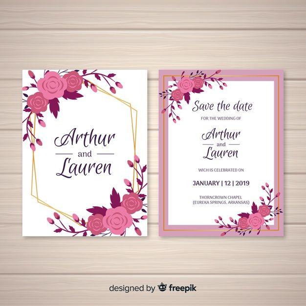 Flat Floral Wedding Card Template Free Vector Wedding Invitation Card Design Elegant Wedding Invitation Card Wedding Invitation Card Template